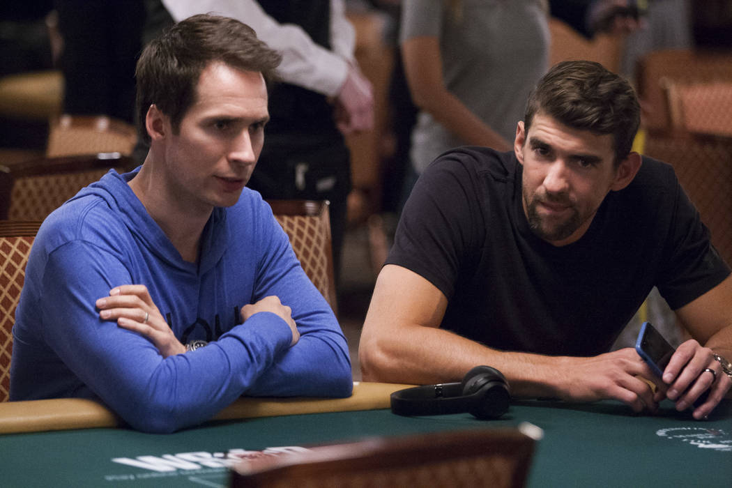 Olympic swimmer Michael Phelps and Jeff Gross chat before the opening of the World Series of Poker at the Rio Convention Center on Wednesday, May 31, 2017. Patrick Connolly Las Vegas Review-Journa ...