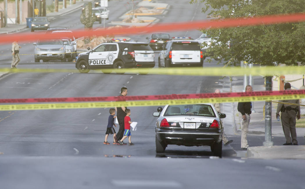 Officers are present at a scene near Silver Lake and Vegas drives on Wednesday, May 31, 2017 in Las Vegas. No injuries have been reported, Metro said. Bridget Bennett Las Vegas Review-Journal @bri ...