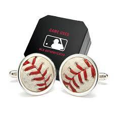 Cuff links from game-used MLB baseballs will help any guy get dressed up. (MLBshop.com)
