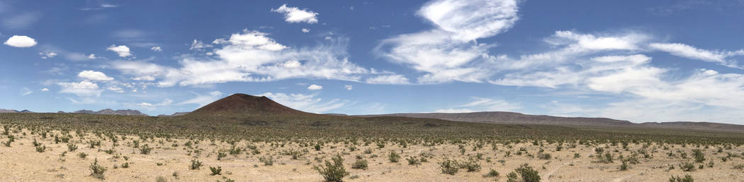 A panorama of Crater Flat shows Black Cone with Yucca Mountain to the right on the horizon, May 22, 2017. Keith Rogers Las Vegas Review-Journal