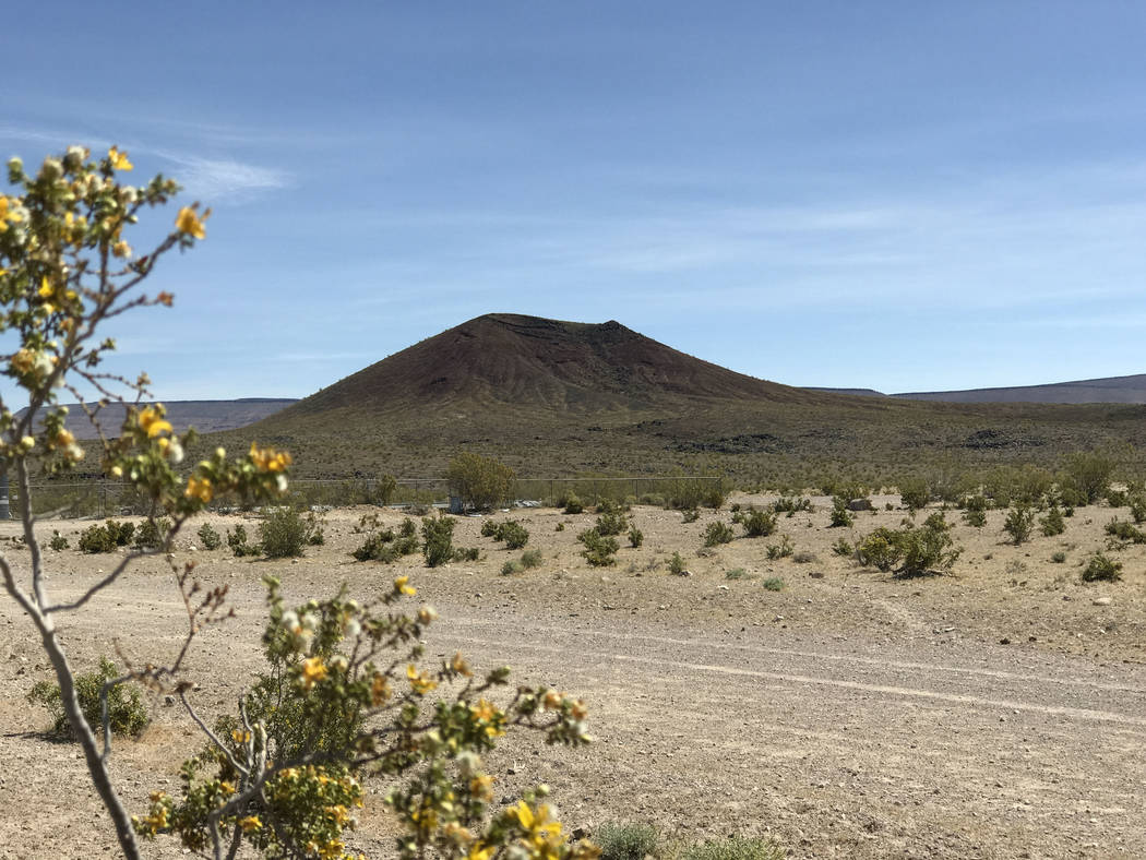 Black Cone juts from Crater Flat west of Yucca Mountain, May 3, 2017. Keith Rogers Las Vegas Review-Journal