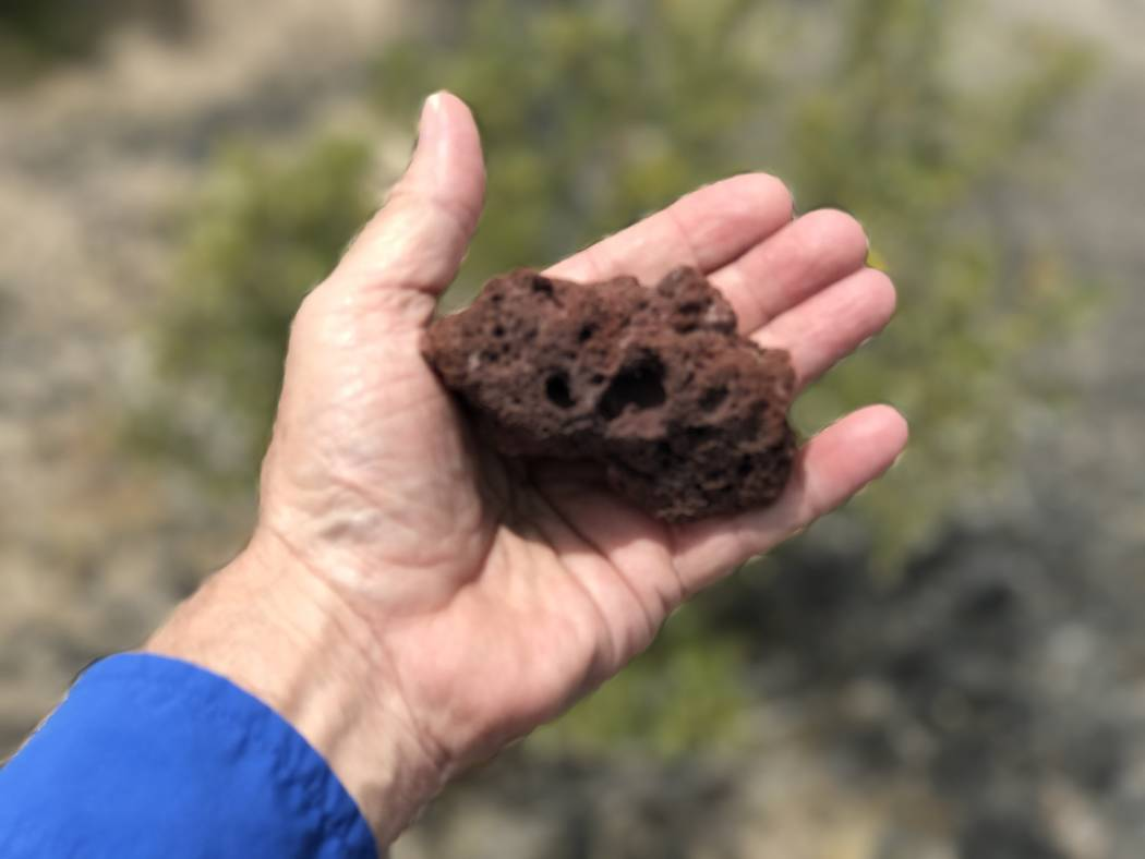 Scoria, an igneous rock with bubble cavities, from the Lathrop Wells cinder cone in the Amargosa Desert southwest of Yucca Mountain, May 22, 2017. Keith Rogers Las Vegas Review-Journal