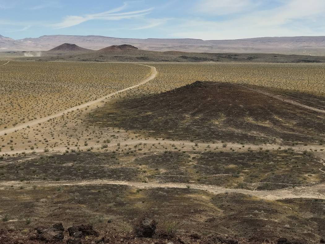 The view north from Little Cones across Crater Flat shows Red Cone and Black Cone in the distance in front of Yucca Mountain, May 22, 2017. Keith Rogers Las Vegas Review-Journal