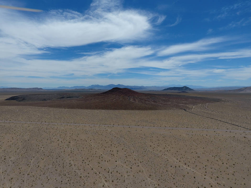 Red Cone is one of several volcanic cinder cones in Crater Flat west of Yucca Mountain, May 22, 2017. Michael Quine/Las Vegas Review-Journal @Vegas88s