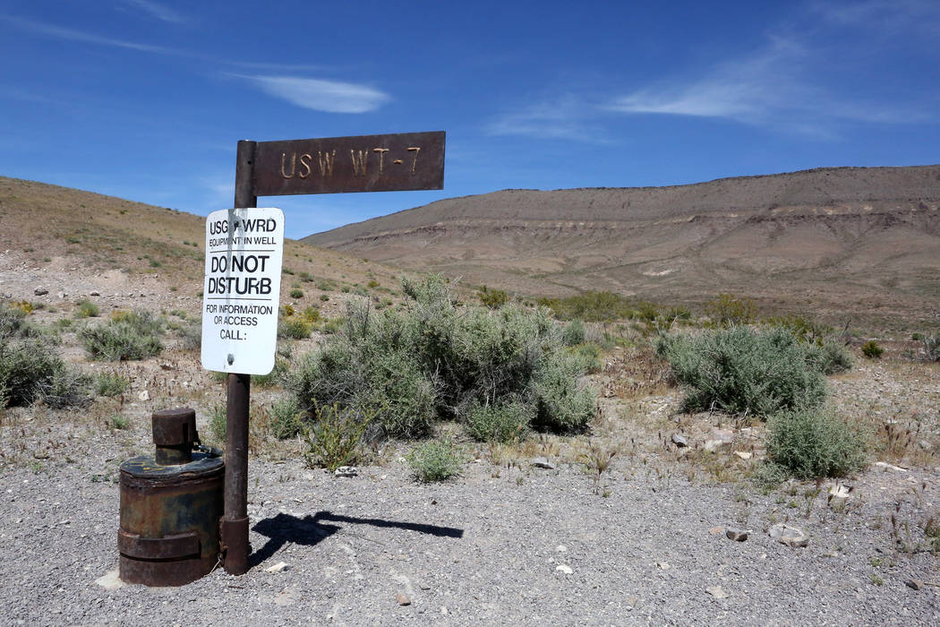 Just below the west rim of Yucca Mountain on May 3, 2017, USW WT-7 is one of 28 wells drilled to measure water level altitude and ground-water flow in 1993.  Michael Quine/Las Vegas Review-Journal ...