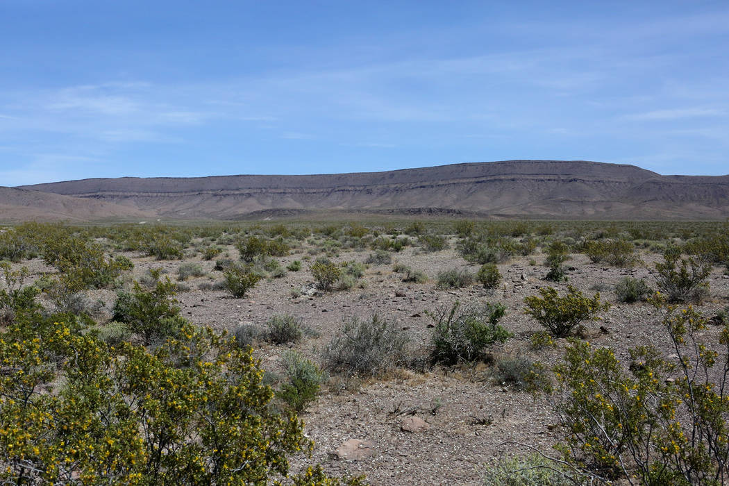 The west rim of Yucca Mountain as seen from Crater Flat on May 3, 2017.  Michael Quine/Las Vegas Review-Journal @Vegas88s