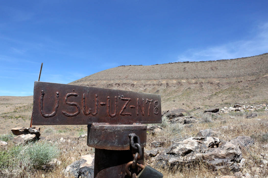 Just below the west rim of Yucca Mountain, is USW-UZ-N78 a borehole drilled to measure changes in water volume and content below the Solitario Canyon sideslope, May 3, 2017.  Michael Quine/Las Veg ...