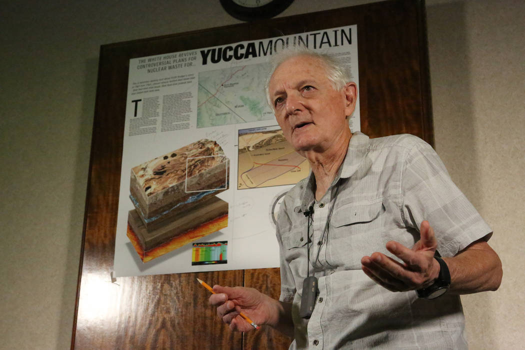UNLV Emeritus Geology Professor Eugene Smith, a volcanism expert for the Nevada Nuclear Projects Agency scientific team, explains the possibility of explosive volcanism as a natural hazard that wa ...
