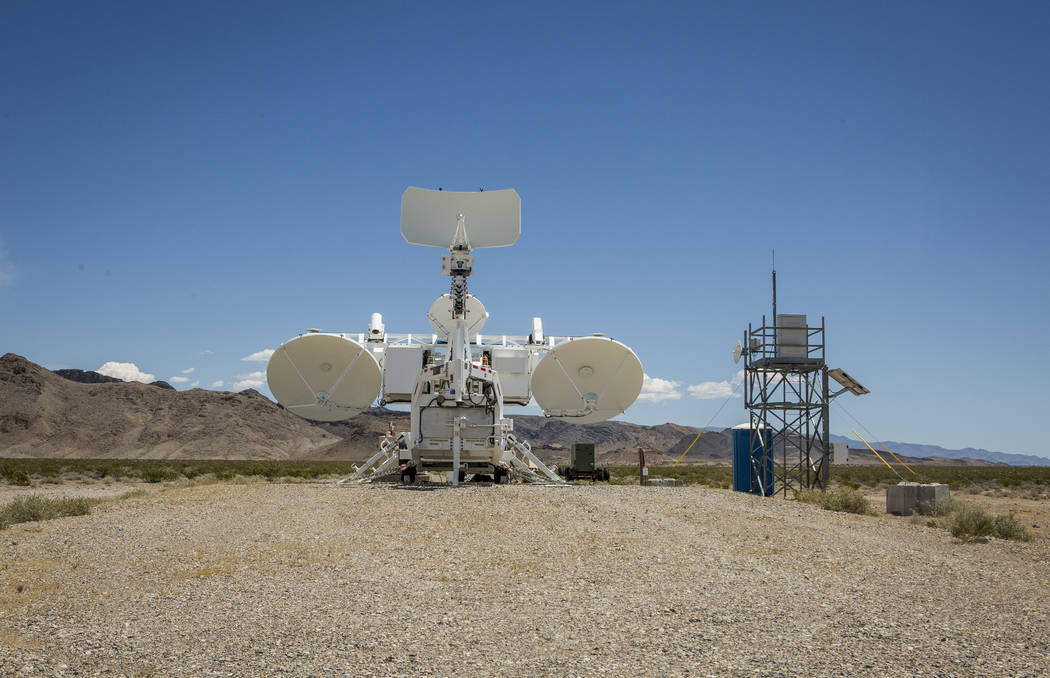 A radar system sits on a gravel pad at the Nevada Test and Training Range on Sunday, May 21, 2017. As part of a proposed expansion, the Air Force plans to add roughly a dozen more pads like this o ...