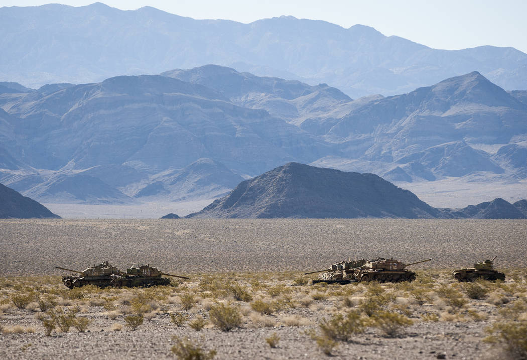 Tanks used as targets for depleted uranium bullets sit in the sun at the Nevada Test and Training Range on Sunday, May 21, 2017, waiting for the day when they will be cleaned up and repurposed. Pa ...