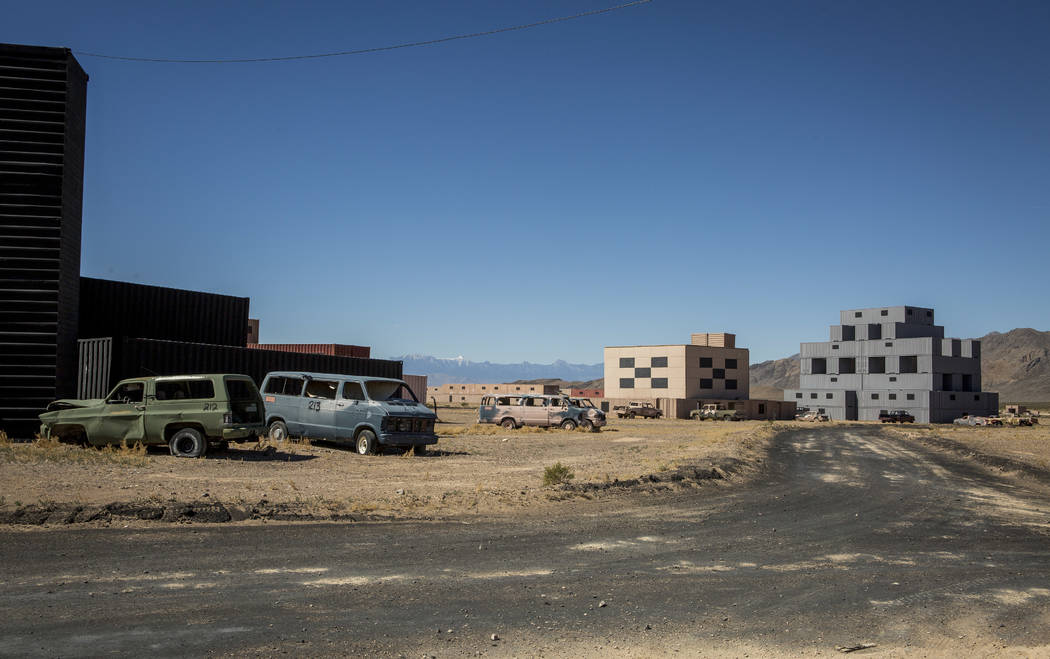 """The streets of """"Gotham City"""" are quiet during a rare tour of the Nevada Test and Training Range on Sunday, May 21, 2017. The Air Force wants to build more training facilities like this on land it  ..."""