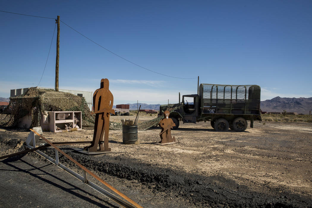 """Metal figurines used for training in the """"Gotham City"""" on the Nevada Test and Training Range on Sunday, May 21, 2017. Patrick Connolly Las Vegas Review-Journal @PConnPie"""