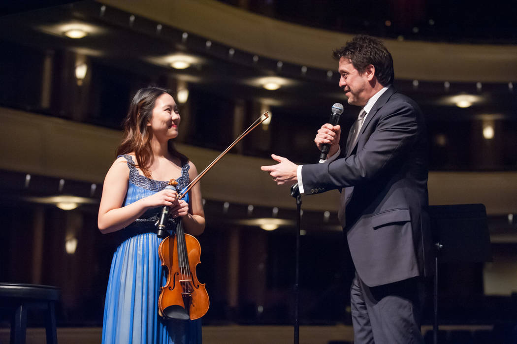 Concerto competition winner Kelsea Au with Las Vegas Philharmonic music director Donato Cabrera at the Philharmonic's 2016 gala. Las Vegas Philharmonic