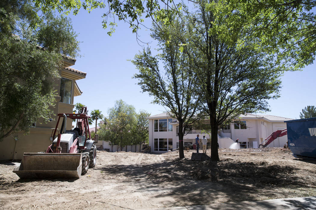 Construction on property linking several homes belonging to UFC president Dana White in the Tournament Hills community on Thursday, May 18, 2017, in Las Vegas. (Erik Verduzco/Las Vegas Review-Journal)