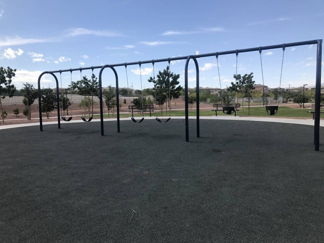 A swing set at Huckleberry Park, 10325 Farm Road, May 15 in the northwest valley. Kailyn Brown/ View