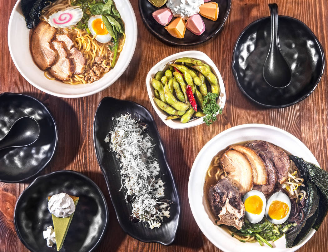 Clockwise/bottom left; Green tea cheesecake, miso ramen, takoyaki, mochi ice cream, garlic edamame and ohjah house ramen at Ohjah Noodle House on Thursday, May 25, 2017, in Henderson. Benjamin Hag ...