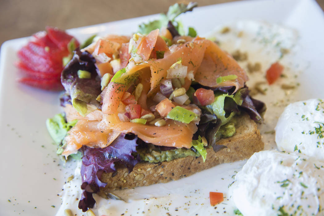 Vegas style avocado toast, with fresh avocado, organic tossed greens, smoked salmon, poached egg and multi grain toast at Dirty Fork on Tuesday, May 23, 2017, in Las Vegas. Benjamin Hager Las Vega ...