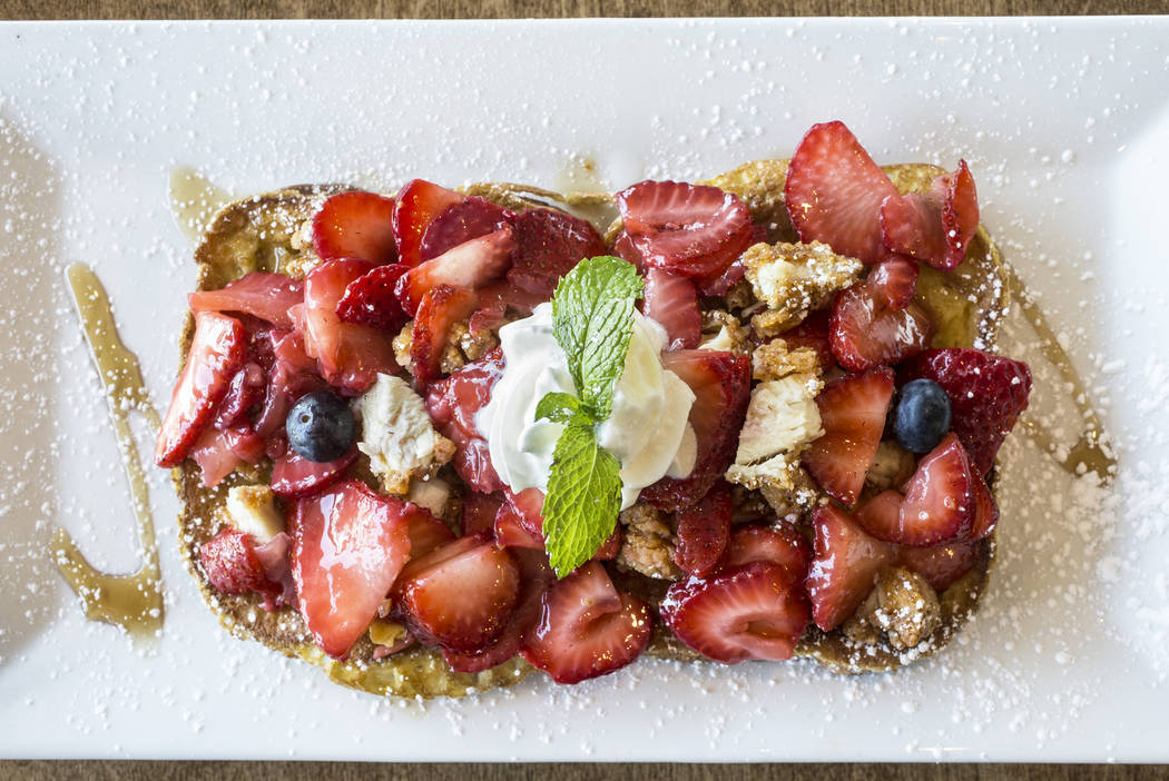 "The ""Dirty Fork Breakfast Special"" has french toast, scrambled egg, chicken and strawberries at Dirty Fork on Tuesday, May 23, 2017, in Las Vegas. Benjamin Hager Las Vegas Review-Journal @benjamin ..."
