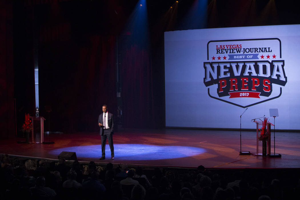 Keynote speaker football hall of famer Marcus Allen during the annual Best of Nevada Preps Awards at the Venetian hotel-casino on Saturday, June 3, 2017 in Las Vegas. Erik Verduzco/Las Vegas Revie ...