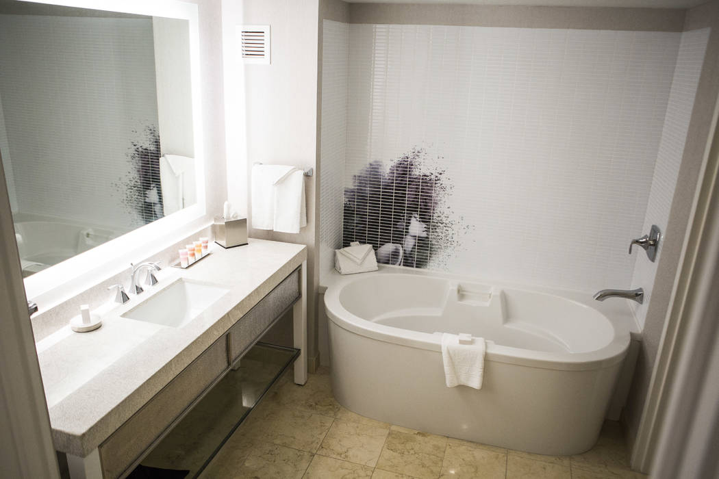 The bathroom of a newly renovated standard hotel room at the Planet Hollywood Resort on Thursday, May 25, 2017. Patrick Connolly Las Vegas Review-Journal @PConnPie