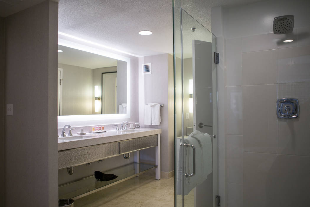 The bathroom of a newly renovated panorama suite at the Planet Hollywood Resort on Thursday, May 25, 2017. Patrick Connolly Las Vegas Review-Journal @PConnPie