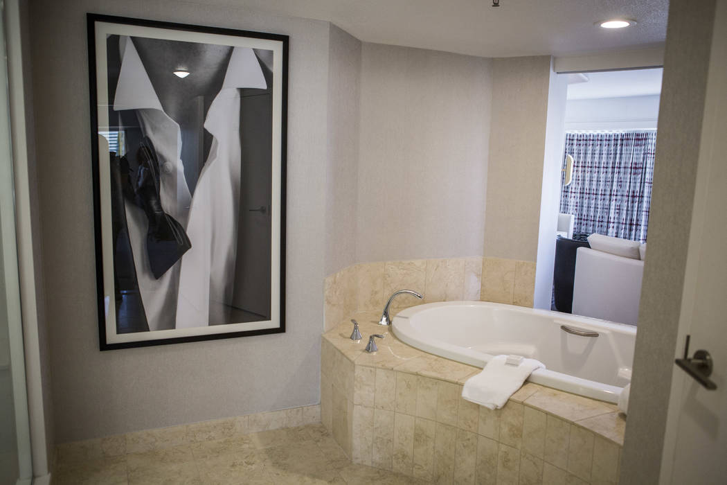 The bathroom can open up with a view of the living room in a newly renovated panorama suite at the Planet Hollywood Resort on Thursday, May 25, 2017. Patrick Connolly Las Vegas Review-Journal @PCo ...