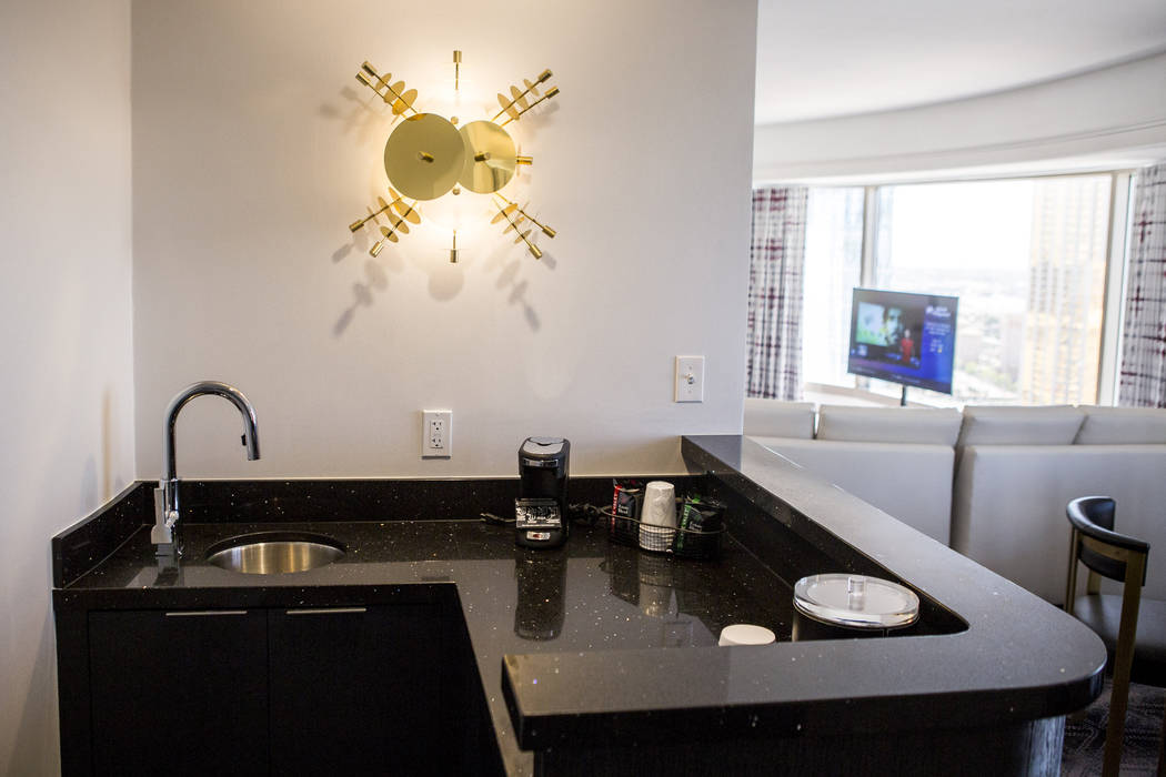 The bar area of a newly renovated panorama suite at the Planet Hollywood Resort on Thursday, May 25, 2017. Patrick Connolly Las Vegas Review-Journal @PConnPie