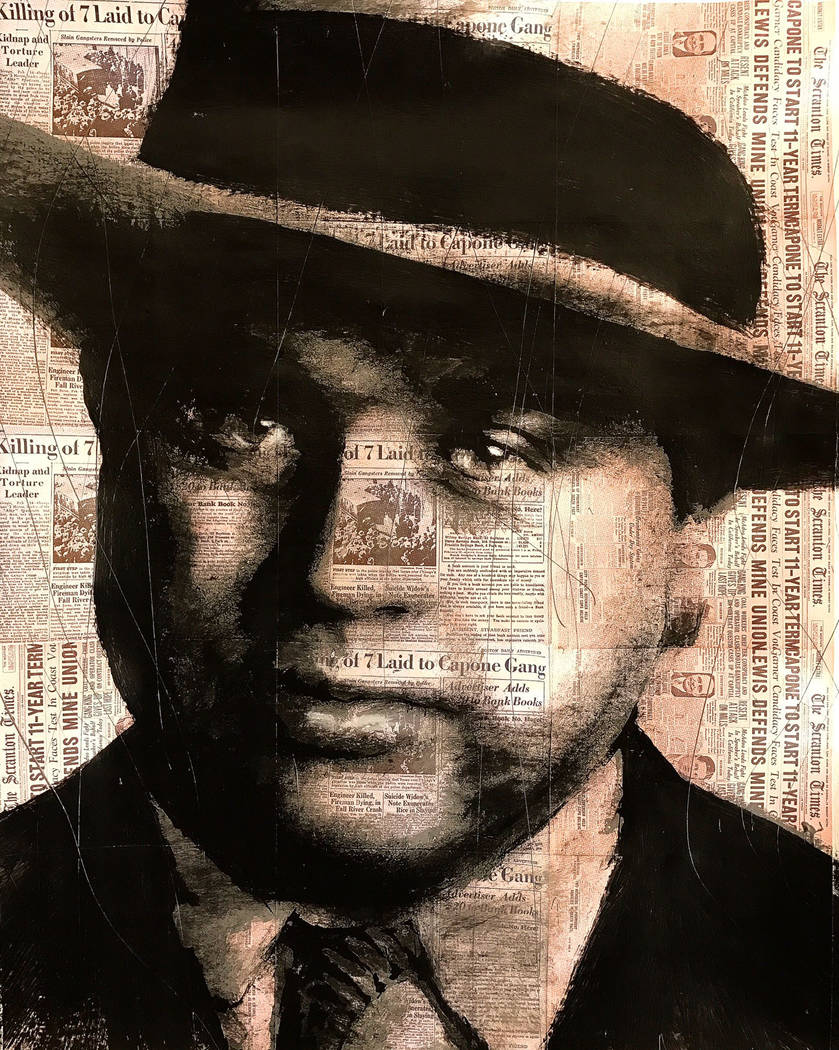 """The """"Scarface"""" of notorious gangster Al Capone emerges from a newsprint backdrop in featured First Friday artist Mel Balatbat's portrait. First Friday Foundation"""