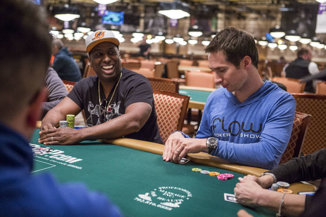 Jeff Gross looks at his card in a poker tag team event during the opening of the World Series of Poker at the Rio Convention Center on Wednesday, May 31, 2017. Patrick Connolly Las Vegas Review-Jo ...