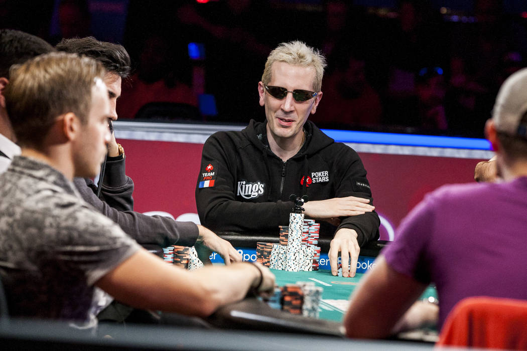 """Bertrand """"ElkY"""" Grospellier competes in the World Series of Poker's $111,111 buy-in High Roller for One Drop No-limit Hold'em tournament at the Rio Convention Center on Monday, June 5, 2017. P ..."""