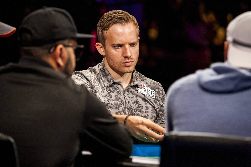 Martin Jacobson competes in the World Series of Poker's $111,111 buy-in High Roller for One Drop No-limit Hold'em tournament  at the Rio Convention Center on Monday, June 5, 2017. Patrick Conn ...