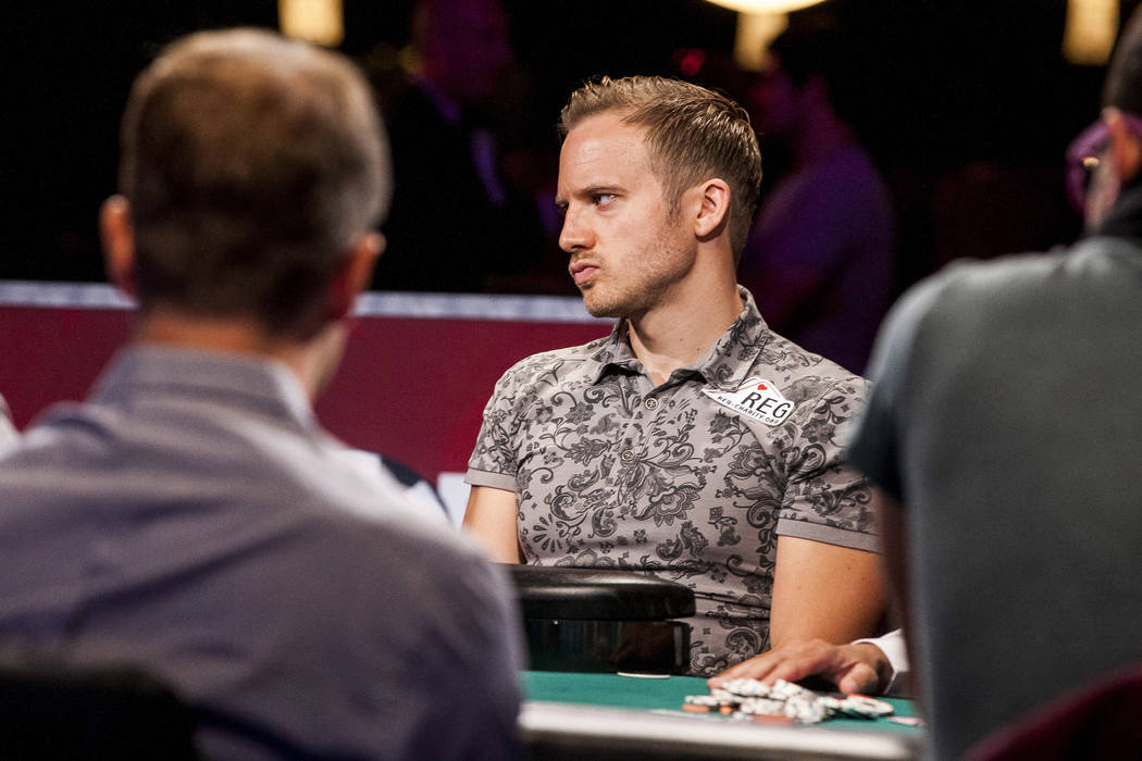 Martin Jacobson competes in the World Series of Poker's $111,111 buy-in High Roller for One Drop No-limit Hold'em tournament at the Rio Convention Center on Monday, June 5, 2017. Patrick Conno ...