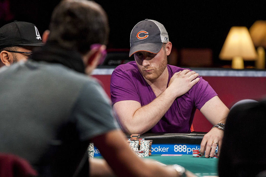 Chris Moore competes in the World Series of Poker's $111,111 buy-in High Roller for One Drop No-limit Hold'em tournament at the Rio Convention Center on Monday, June 5, 2017. Patrick Connolly  ...