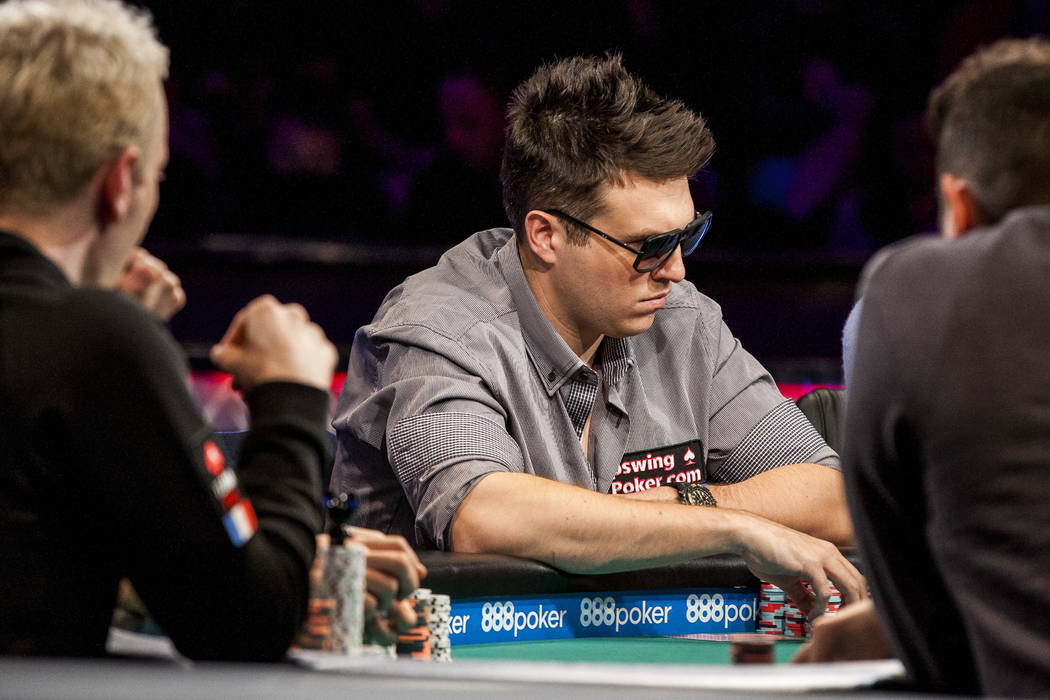 Doug Polk competes in the World Series of Pokerճ $111,111 buy-in High Roller for One Drop No-limit Holdեm tournament at the Rio Convention Center on Monday, June 5, 2017. Patrick Conno ...