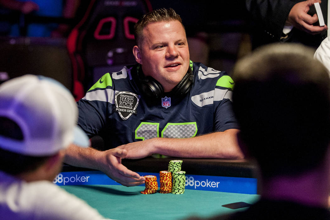 Matt Affleck talks with other players at the final table of the Colossus III - $565 No-Limit Hold'em tournament at the World Series of Poker on Wednesday, June 7, 2017.  Patrick Connolly Las Vegas ...
