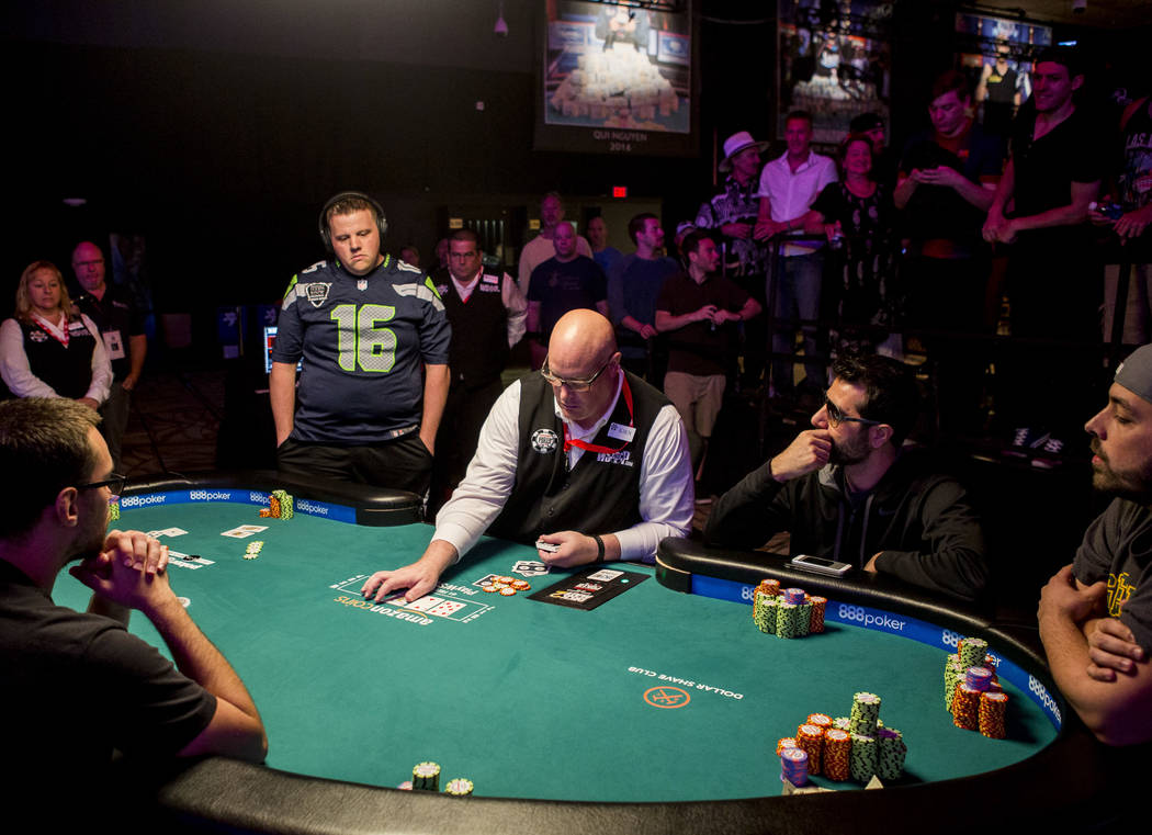 Matt Affleck (16) is eliminated in eighth place at the final table of the Colossus III - $565 No-Limit Hold'em tournament at the World Series of Poker on Wednesday, June 7, 2017.  Patrick Connolly ...