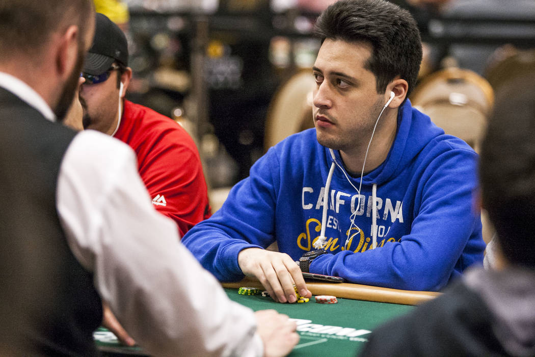 Adrián Mateos competes in The Marathon - $2,620 No-Limit Hold'em event during the World Series of Poker at the Rio Convention Center on Monday, June 12, 2017.  Patrick Connolly Las Vegas Revi ...