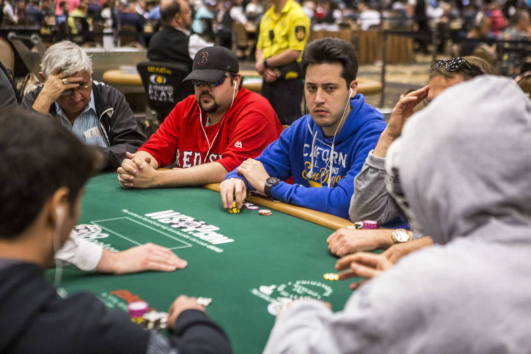 Adrián Mateos (in blue) competes in The Marathon - $2,620 No-Limit Hold'em event during the World Series of Poker at the Rio Convention Center on Monday, June 12, 2017.  Patrick Connolly Las  ...