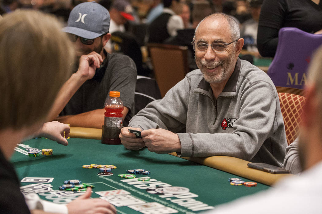 Barry Greenstein reacts after his decision to go all-in paid off in the $2,500 No-Limit Hold'em event in the World Series of Poker at the Rio Convention Center on Thursday, June 15, 2017.  Patrick ...