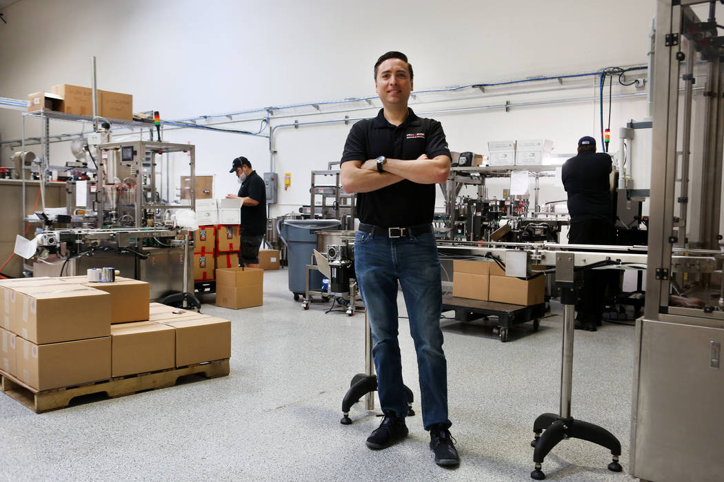 Owner of Stella Brands Packing and Printing Brent Patterson in his company's warehouse in Las Vegas, Tuesday,  May 30, 2017.  Elizabeth Brumley/Las Vegas Review-Journal