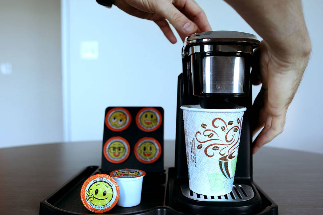 Owner of Stella Brands Packing and Printing Brent Patterson discusses his journey in entrepreneurship to single serve coffee cups while making a cup of coffee in his company's warehouse in Las Veg ...
