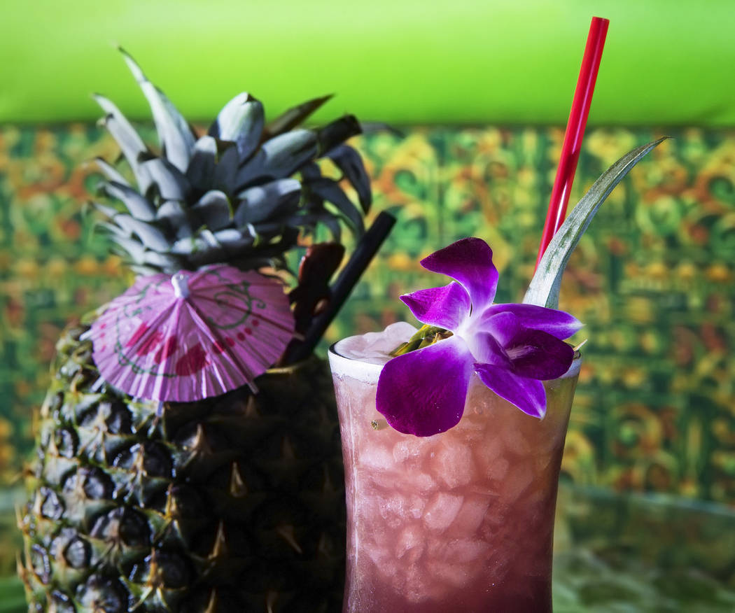 The kuuipo, with J. Wray golden rum, Lejay crème de cassis, pineapple juice, pineapple gomme syrup and lime juice in pineapple at The Golden Tiki on Saturday, May 27, 2017, in Las Vegas. Benjamin ...