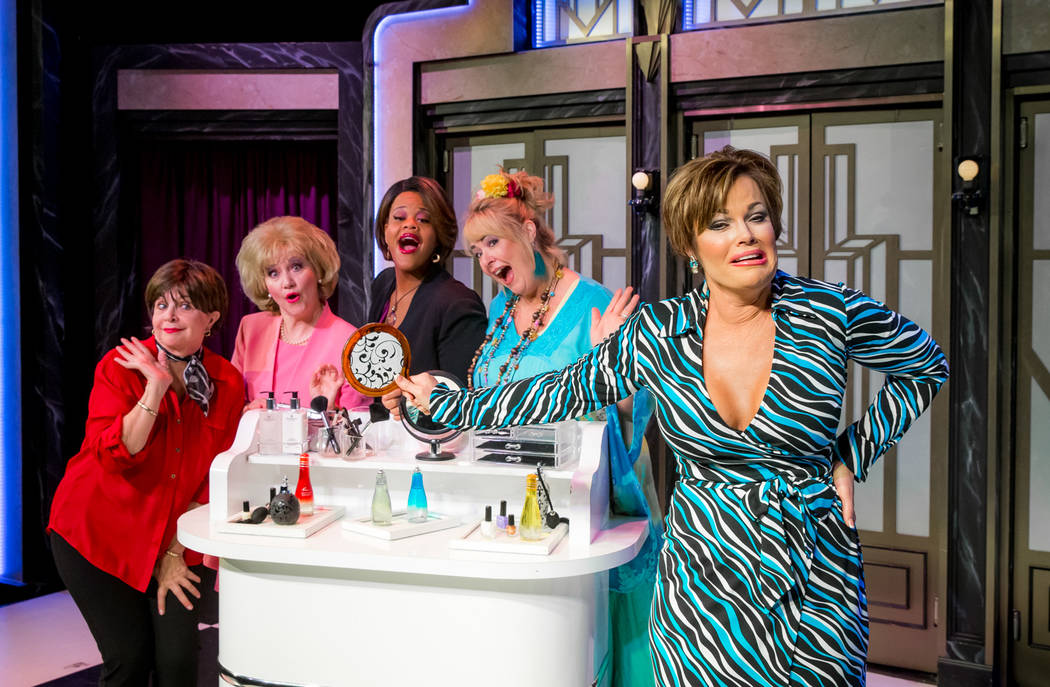"Cindy Williams, in red, and the cast of ""Menopause the Musical"" at Harrah's in Las Vegas. (Erik Kabik)"