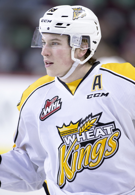 WHL (Western Hockey League) player profile photo on Brandon Wheat Kings' Nolan Patrick at a game against the Calgary Hitmen in Calgary, Alberta on Jan. 3, 2016.  (Larry MacDougal via AP)