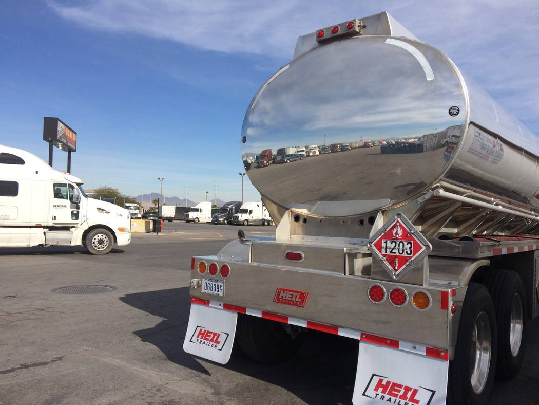 Big rigs sit quietly Jan. 30, 2017, at a truck stop near Cheyenne Avenue and I-15. In 2010, the U.S. saw 26,649 auto glass claims, according to autoinsurance.org. (Jan Hogan/View)