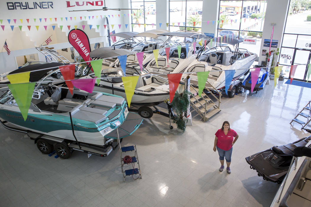 Candice Hayes, sales manager at Dry Dock Boat Sales, in the showroom on Boulder Highway on Thursday, June 1, 2017. Patrick Connolly Las Vegas Review-Journal @PConnPie