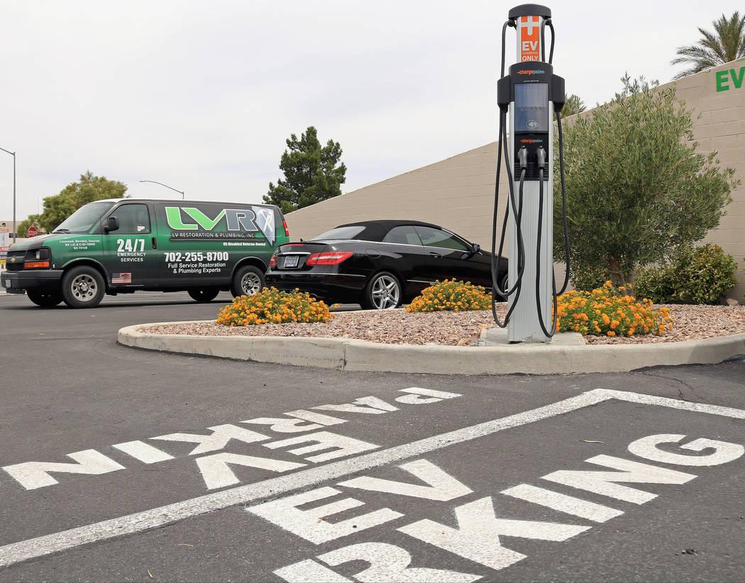 An EV charging station on North Rainbow Boulevard, Wednesday, May 31, 2017. Gabriella Benavidez Las Vegas Review-Journal @latina_ish