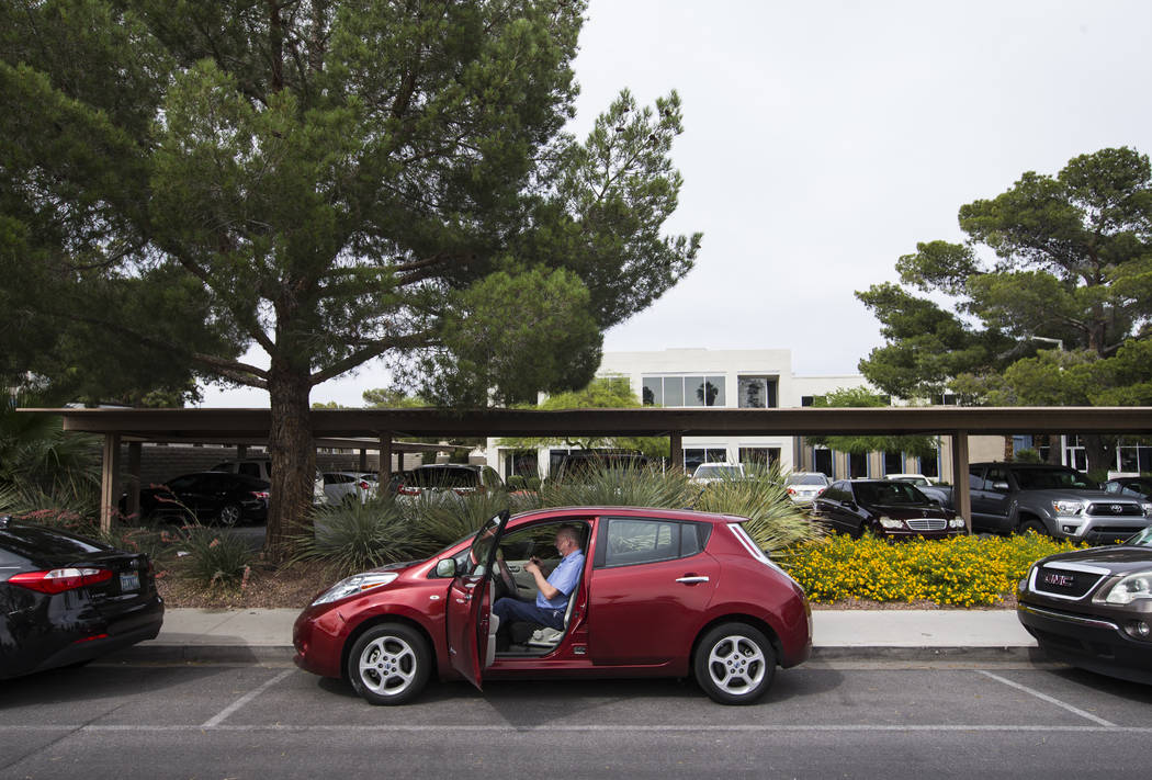 Lloyd Reece, president of the Las Vegas Electric Vehicle Association, inside his 2011 Nissan Leaf in Las Vegas on Wednesday, May 31, 2017. Chase Stevens Las Vegas Review-Journal @csstevensphoto