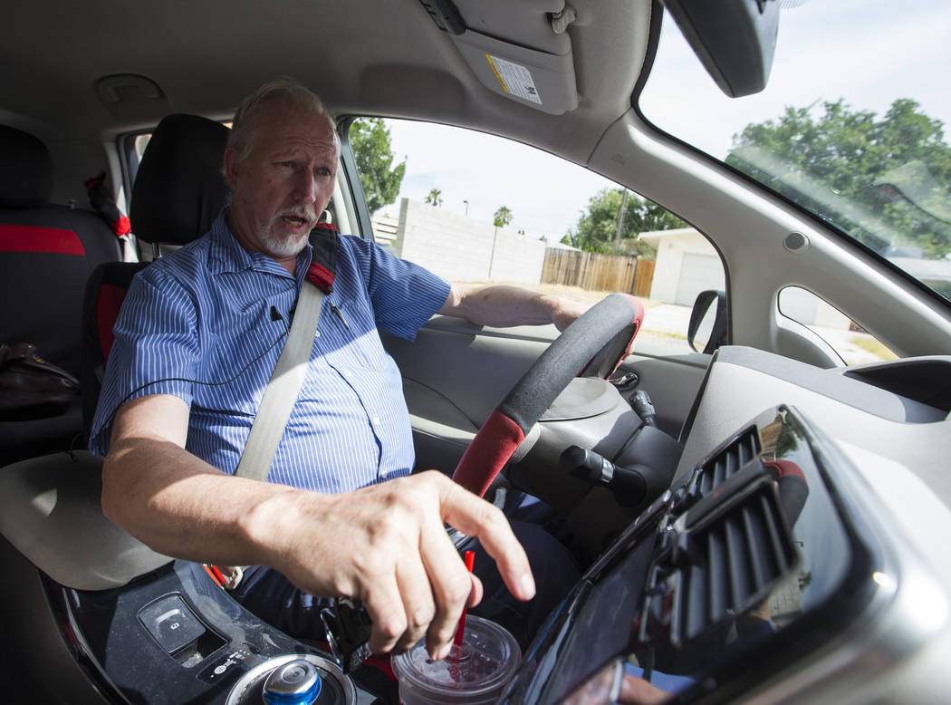 Lloyd Reece, president of the Las Vegas Electric Vehicle Association, drives his 2011 Nissan Leaf in Las Vegas on Wednesday, May 31, 2017. Chase Stevens Las Vegas Review-Journal @csstevensphoto