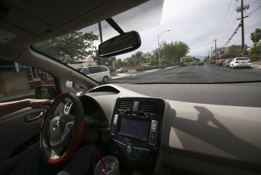 Lloyd Reece, president of the Las Vegas Electric Vehicle Association, drives his 2011 Nissan Leaf in Las Vegas on Wednesday, May 31, 2017. Chase Stevens Las Vegas Review-Journal @csstevensphoto